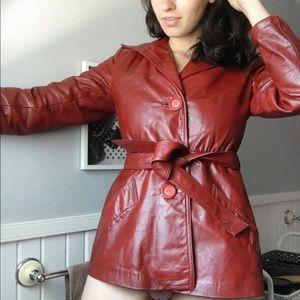 Vintage 100% Leather Jacket Women Maroon Hipster